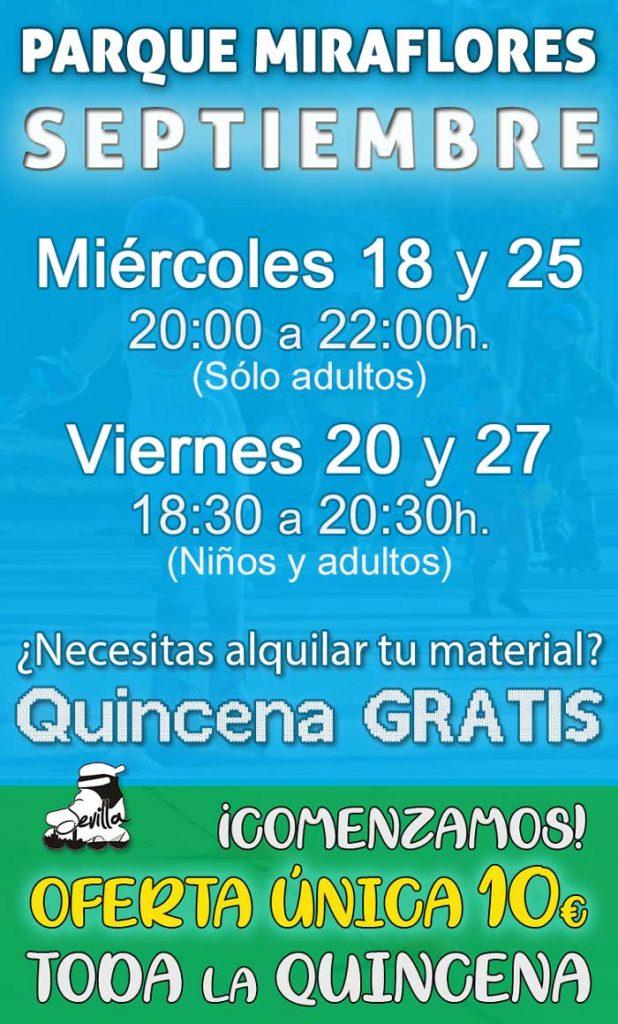 Días, Horarios, precios y ofertas de las clases de patines en Septiembre, de Sevilla Patina, en el Parque Miraflores de Sevilla.