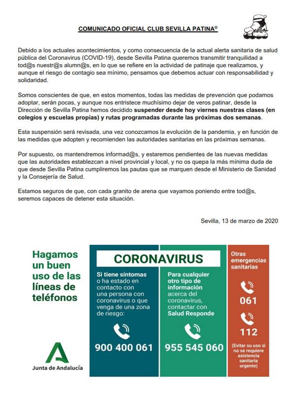 Comunicado oficial sobre la suspensión de clases en Escuelas y Colegios durante la crisis del COVID-19