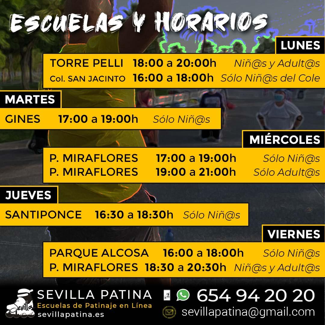 Horarios de todas las Escuelas de Patinaje de Sevilla